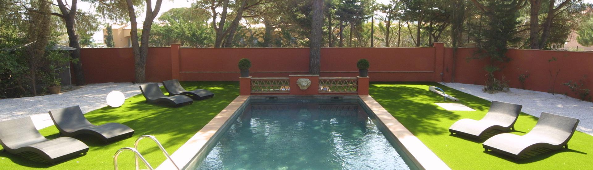 tuin zwembad Villa Côte d'Asoet Côte d'Azur.